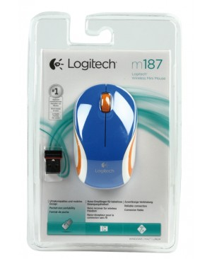 Raton Logitech Wireless Mini Mouse M187 ideal Portátil AZUL
