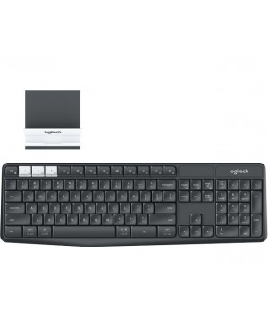 Teclado Aleman Logitech K375s Multi Device Wireless Keyboard +Stand Combo GRAPHITE DEU BT